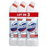 Domestos Gel Nettoyant WC Brillance et Blancheur avec Javel, 100% Désinfectant, Détartrant, Elimine 100% des Bactéries (Lot de 3x1l)