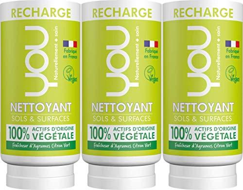 YOU - Recharge pour Nettoyant Sols et Surfaces - Fraîcheur d'Agrumes Citron Vert - Lot de 3 x 100ml
