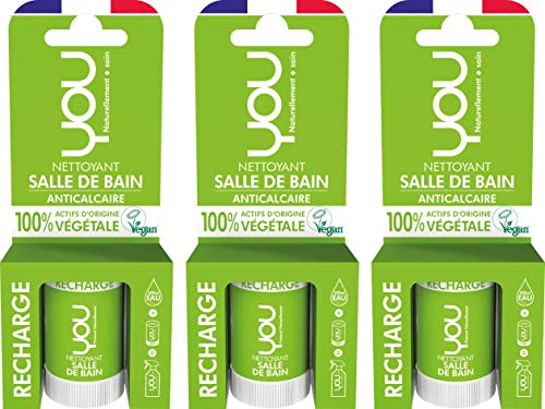 YOU - Recharge pour Spray Nettoyant Salle de Bain Anticalcaire - 100% d'Actifs d'Origine Végétale - Certifié Vegan - Parfum Naturel - Fabriqué en France - Une Recharge pour 500ml - Lot de 3 x 12ml