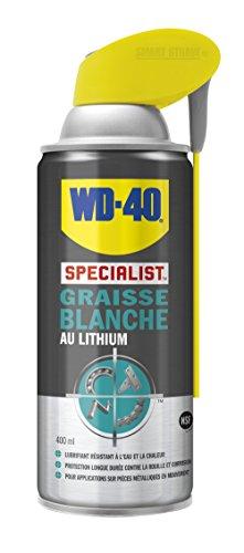 WD-40 Specialist • Graisse Blanche Au Lithium • Spray Double Position • Formule Blanche et épaisse • Résiste à l'Eau et a la Chaleur • Propriétés anti-usure • 400 ML