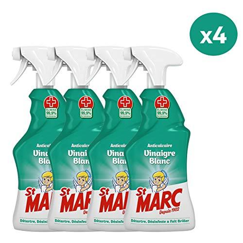 St Marc Pistolet Spray Nettoyant Anticalcaire au Vinaigre Blanc 500 ml - Lot de 4