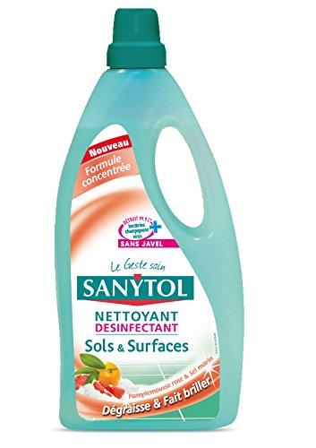 Sanytol Nettoyant Désinfectant Sols et Surfaces Pamplemousse et Sel Marin - 1 litre