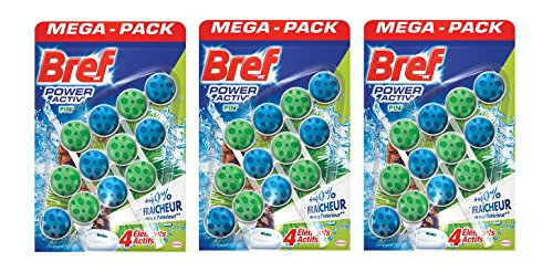 Bref WC Power Activ Pin Mega-Pack 50g - Blocs Nettoyants WC - 3 blocs de 3 Bref WC